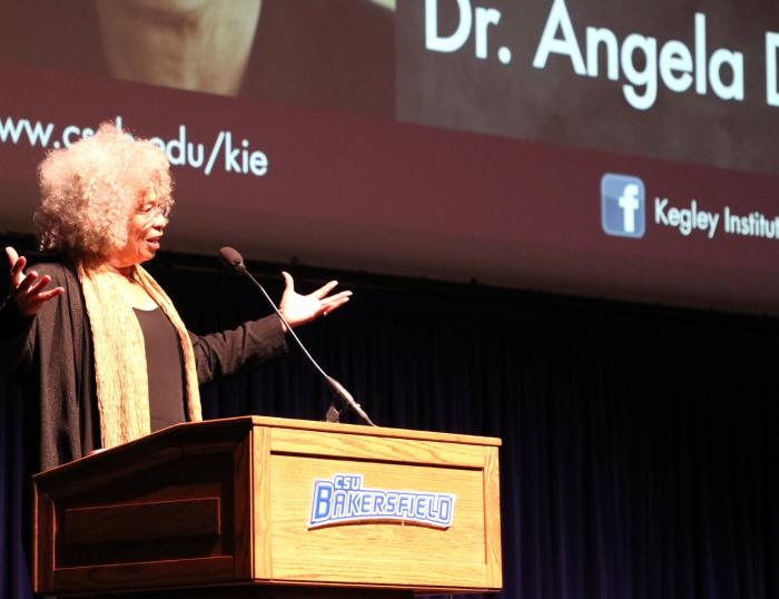 """Angela Davis delivering a Kegley Institute of Ethics-hosted public talk on """"Education or Incarceration? Activism and the Prison-Industrial Complex"""" in 2019. Photo by CSUB Marketing and Communications."""