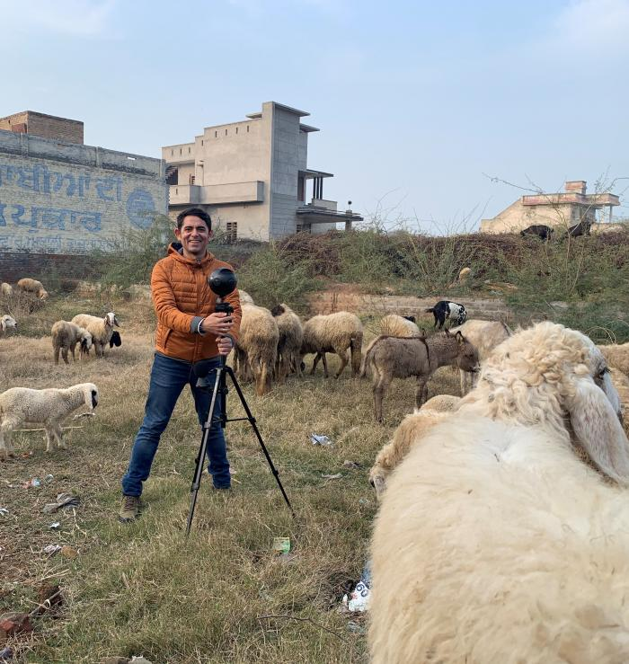 Harjant Gill filming Tales from Macholand in northern India