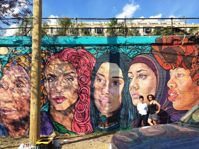 Weaving Cultures by lead artists Sam Kirk and Sandra Antongiorgi, located on 16th and Blue Island in Pilsen