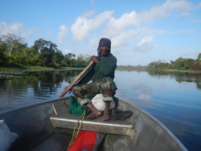 Archaeological reconnaissance along the Belize River (photo by Alex Gantos)