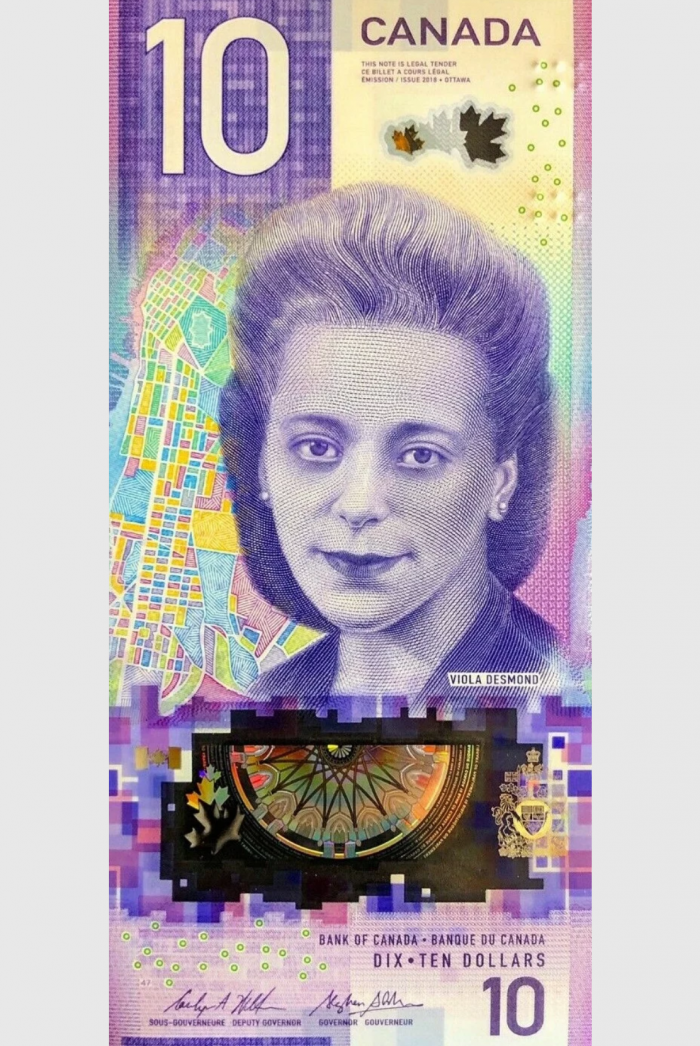 A $10 bill issued by the Bank of Canada featuring Viola Desmond, a Black businessperson and Civil Rights activist