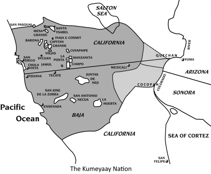 Kumeyaay Lands before Encroachment (with modern Reservations/Ejidos in white). Map created by Mike Connolly.