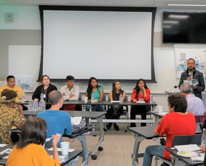 Youth Perspectives on Childhood, Education, and Environment panel at the Critical Refugee Studies Symposium at UC Merced on April 13, 2010. Pictured: Mauricio Trejo, Claudia Gonzalez, Cheng Vang, Reyna Gabriel-Peralta, Stephanie Gurtel, Karina Vivas, Mohamed Abumaye. Photo by Nigel Hatton.