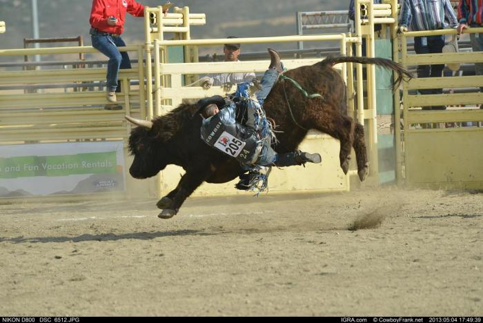 A cowboy hangs on during a bull riding competition, photo credit: CowboyFrank.net, International Gay Rodeo Association