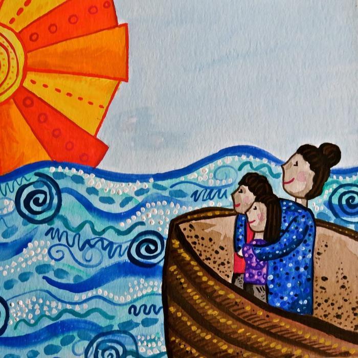 Artwork by Maya Le Espiritu representing refugees crossing water with hope