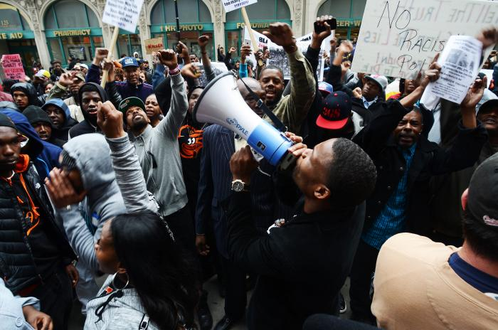 Protest demonstration, from Preserve the Baltimore Uprising: Your Stories. Your Pictures. Your Stuff. Your History - photo by Joseph Giordano
