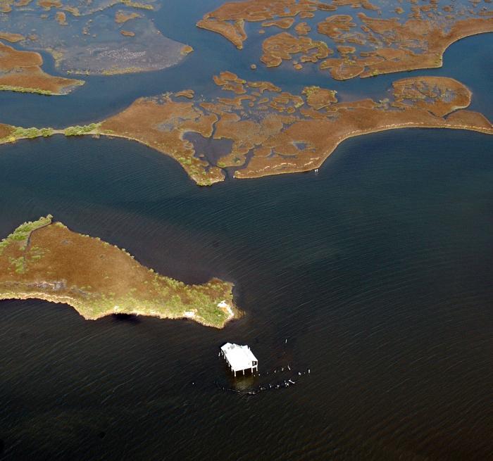 Land loss around Louisiana coast; photo by Kristi Cheramie