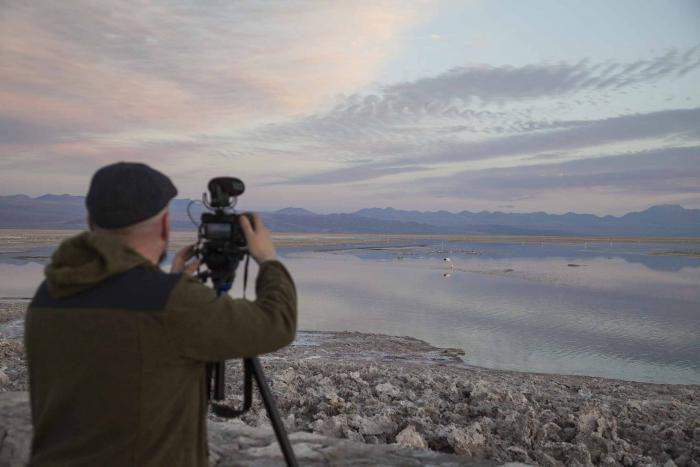 Luis Martin-Cabrera at Chaxa Lake in Chile (photo by Omar Pimienta)