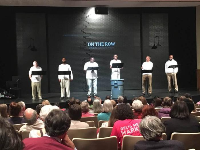Actors David Jolliffe, Brandon Smith, Kerry Crawford, James Washington, Troy Schremmer, and Austin Ashford performing the staged reading of On The Row at the University of Arkansas, photo by Tiago Santo