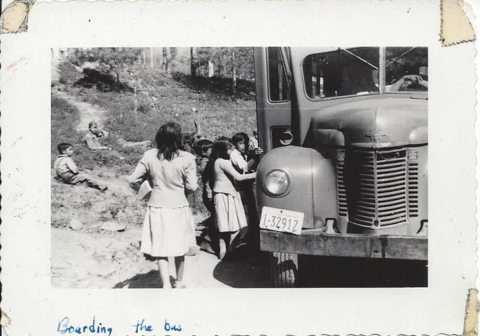 Students boarding the bus to the Snowbird Day School in 1954 - photo from the David Crowe Collection