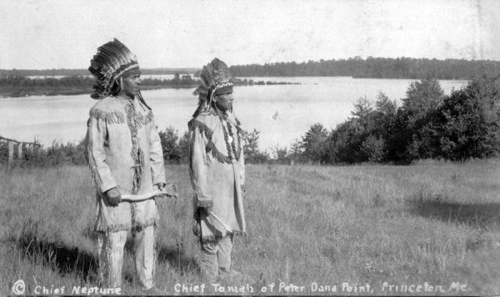 Peter Neptune (left) and Sabbatis Tomah (right), Peter Dana Point, Indian Towmship, Maine, Courtesy of Donald Soctomah, Passamaquoddy Tribe.
